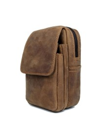 Коричневая сумка на пояс - барсетка 75006B