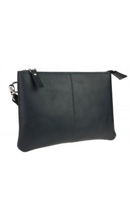 Вместительный кожаный мужской черный клатч 7518-SKE