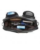 Фотография Кожаная черная мужская горизонтальная сумка 7532LH