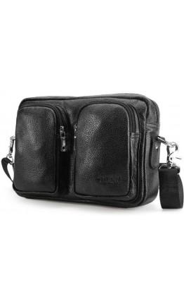 Кожаная черная мужская горизонтальная сумка 7532LH