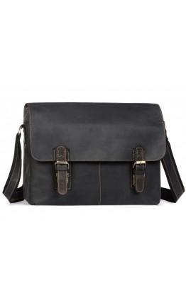 Кожаная мужская черная удобная прочная сумка 76002A-22