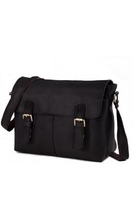 Чёрная вместительная кожаная сумка на плечо 76002a-1