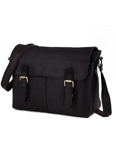 Фотография Чёрная вместительная кожаная сумка на плечо 76002a-1
