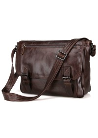 Коричневая удобная повседневная сумка через плечо 76009