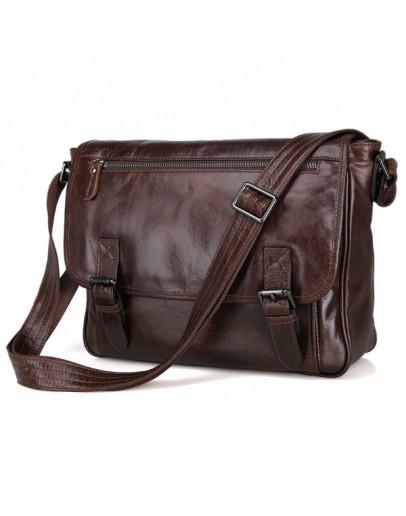 Фотография Коричневая удобная повседневная сумка через плечо 76009