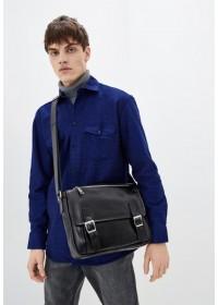 Кожаная черная мужская удобная сумка на плечо Tarwa 76046A-1