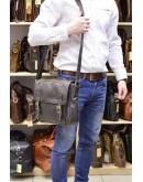 Фотография Коричневая вместительная мужская кожаная сумка 76046C-1