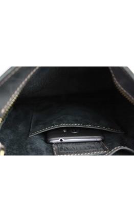 Вертикальная черная кожаная мужская сумка на плечо 76232-SKE