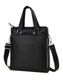 Фотография Мужская кожаная сумка формата а4 чёрная 7664-3A
