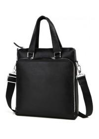 Мужская кожаная сумка формата а4 чёрная 7664-3A