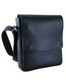 Фотография Черная кожаная плечевая сумка - мессенджер 76677-SGE