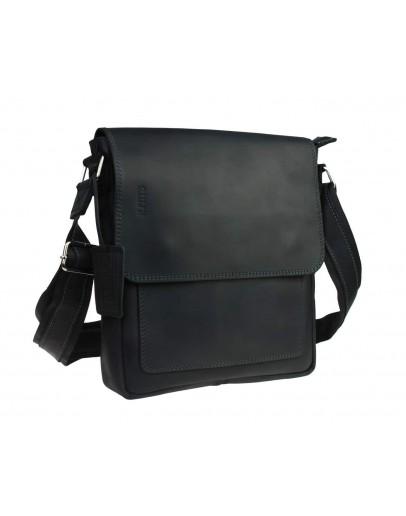 Фотография Черная мужская кожаная сумка с клапаном 76832-SKE