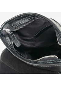 Чёрная плечевая мужская сумка среднего размера 7685-1A