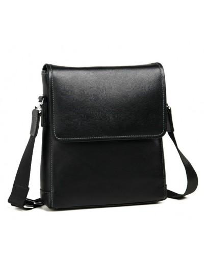 Фотография Мужской черный кожаный мессенджер на плечо 7685-2A