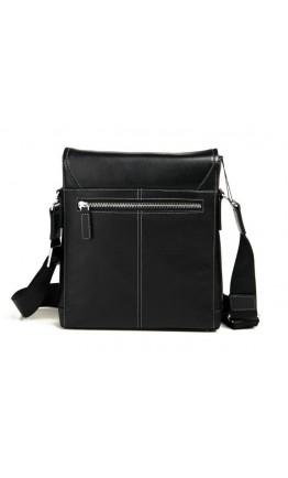 Мужской черный кожаный мессенджер на плечо 7685-2A