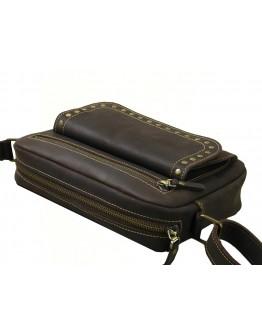 Коричевая женская кожаная сумка на плечо 77009-SGE