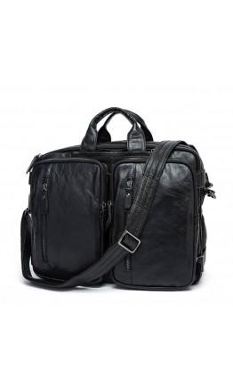 Мужская черная кожаная сумка трансформер рюкзак 77014A-1