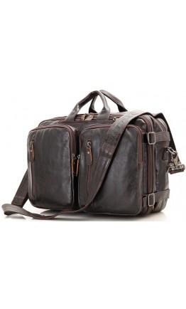 Кожаная коричневая сумка мужская трансформер 77014C-2