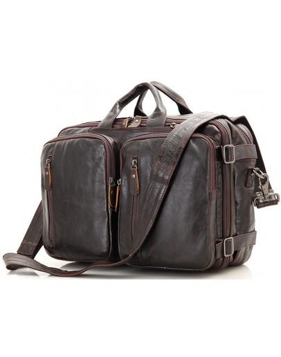 Фотография Кожаная коричневая сумка мужская трансформер 77014C-2