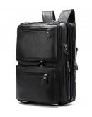 Фотография Большая черная кожаная мужская сумка - трансформер 77014AB-4