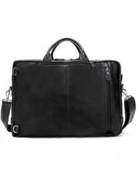 Большая черная кожаная мужская сумка - трансформер 77014AB-4