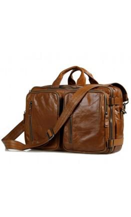 Мужская вместительная коричневая сумка - портфель 77014B-1