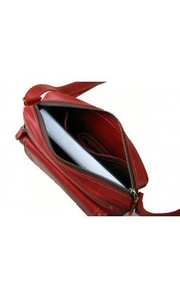 Красная женская кожаная сумка на плечо 77019-SGE