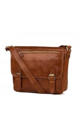 Рыжая кожаная мужская сумка на плечо 77022B-3