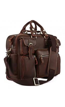 Большая повседневная мужская коричневая сумка 77028R-1
