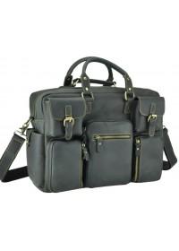 Серая кожаная мужская вместительная сумка 77028RA