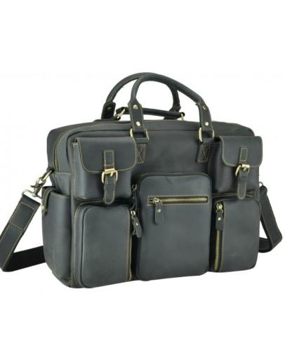 Фотография Серая кожаная мужская вместительная сумка 77028RA