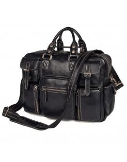 Черная кожаная многофункциональная сумка 77028A-1