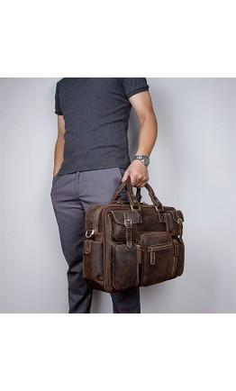 Вместительная брутальная кожаная сумка 77028R