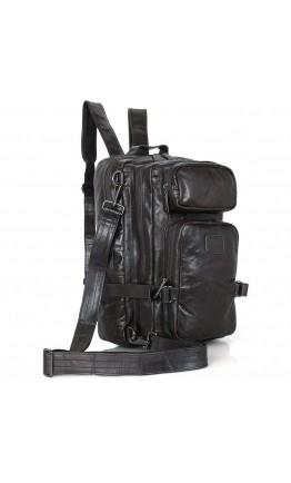 Большая вместительная серая кожаная сумка - рюкзак 77039i