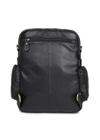 Черный кожаный мужской рюкзак - сумка на плечо 77042A
