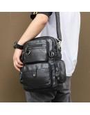 Фотография Черный кожаный мужской рюкзак - сумка на плечо 77042A