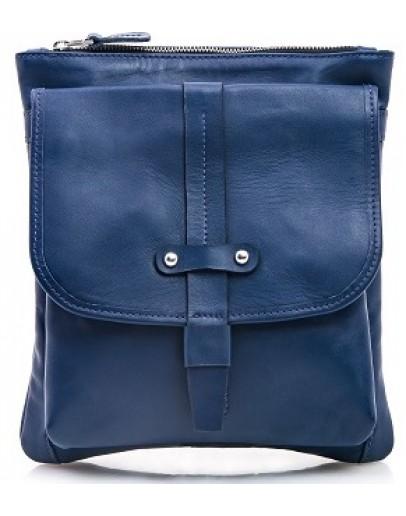 Фотография Синяя мужская кожаная сумка через плечо 77045N