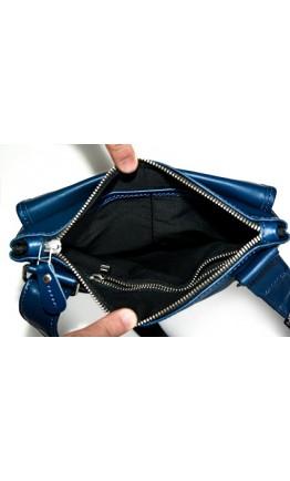 Синяя мужская кожаная сумка через плечо 77045N