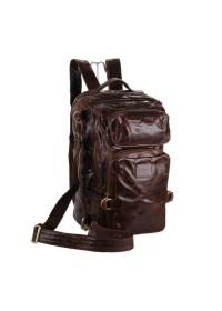 Кожаный мужской рюкзак большой коричневый 77048