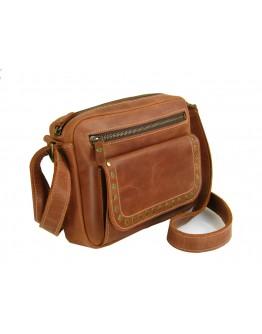 Cветло-коричевая женская кожаная сумка на плечо 77049-SGE