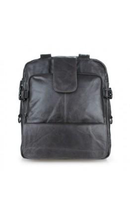 Мужская кожаная сумка-рюкзак цвета асфальт 77065I