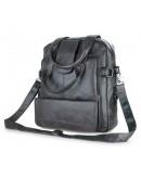 Фотография Мужская кожаная сумка-рюкзак цвета асфальт 77065I