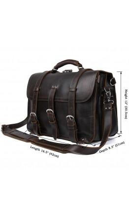 Большая кожаная винтажная мужская коричневая сумка 77072Q