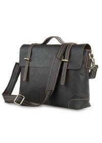 Портфель мужской темно коричневого цвета кожаный 77082Q