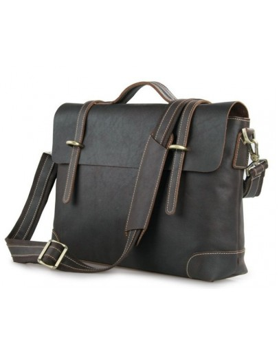 Фотография Портфель мужской темно коричневого цвета кожаный 77082Q