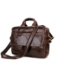 Кожаная коричневая удобная мужская сумка 77085c-1