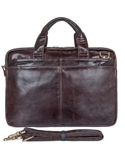 Фотография Мужская темно-коричневая кожаная мега функциональная сумка 77092-3c