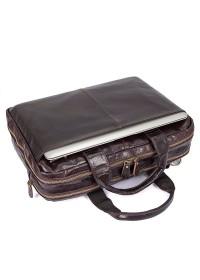 Мужская темно-коричневая кожаная мега функциональная сумка 77092-3c