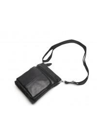 Кожаная мужская сумочка чёрная m7701a