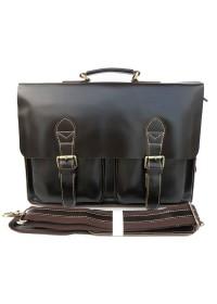 Гладкий коричневый мужской кожаный портфель 77105c